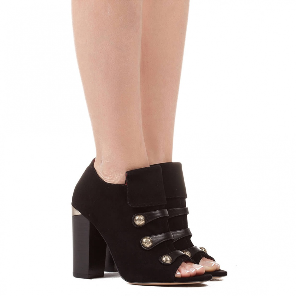 Block heel ankle boot in black suede - online shoe store Pura Lopez
