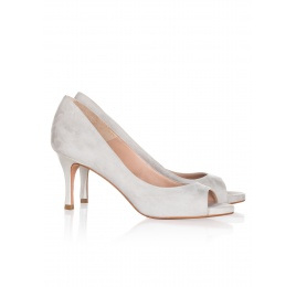 Mid heel peep toes in grey suede Pura López