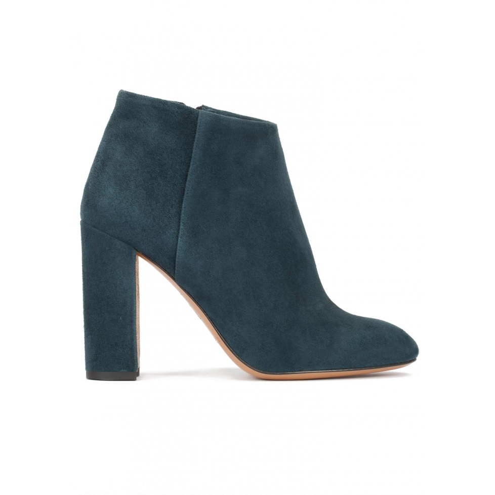 High block heel ankle boots in petrol blue suede