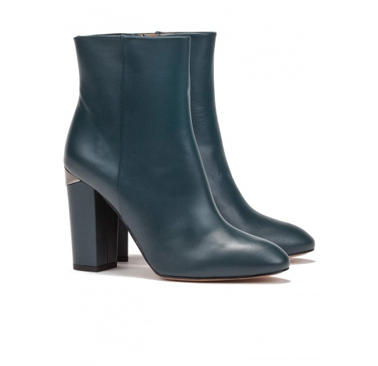 High block heel ankle boots in petrol blue leather Pura L�pez