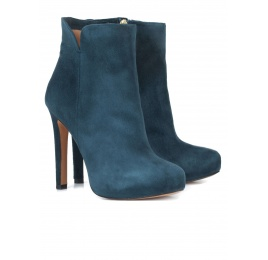 Petrol blue suede heeled ankle boots Pura López