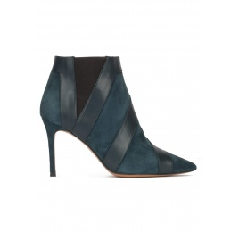 Petrol blue heeled pointy toe ankle boots Pura López