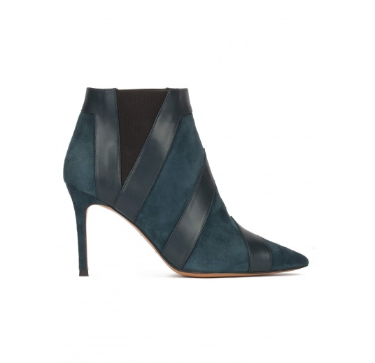 Petrol blue heeled pointy toe ankle boots Pura L�pez