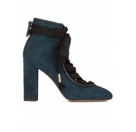 Petrol blue suede lace-up high block heel shoes Pura López