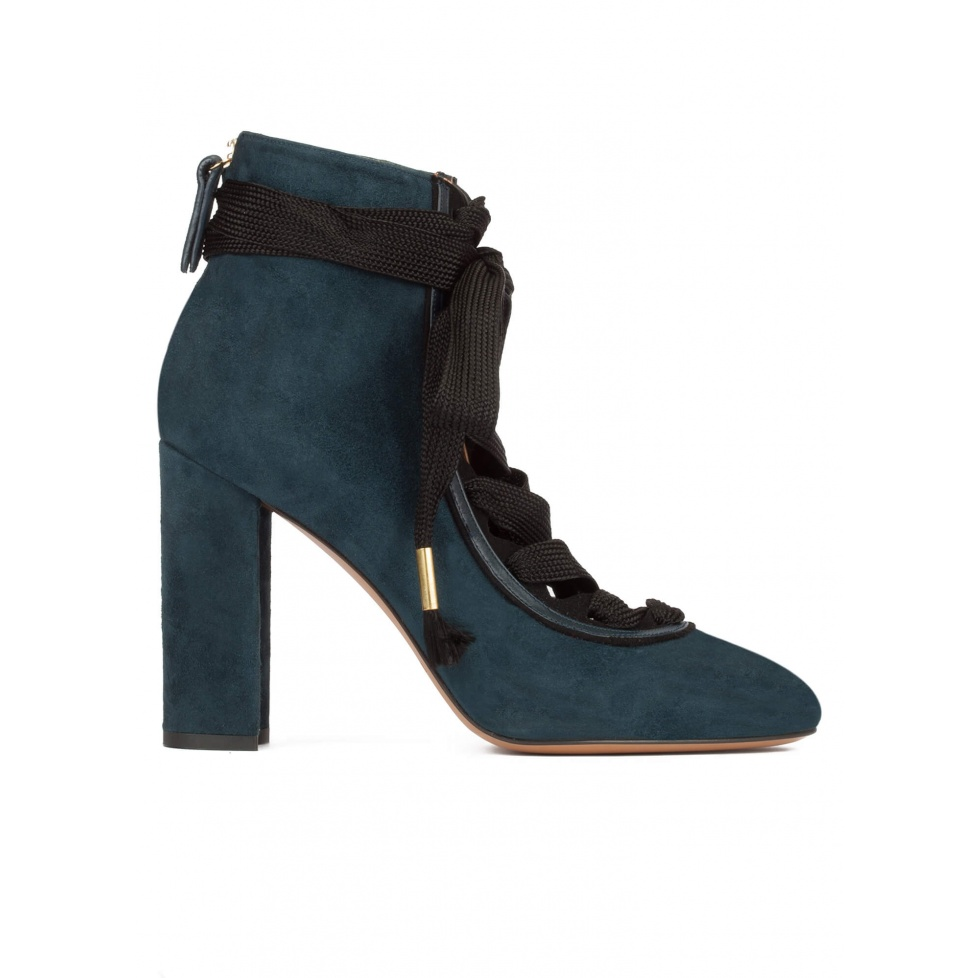 Petrol blue suede lace-up high block heel shoes