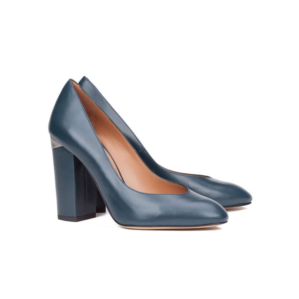 High heel pump in blue leather - online shoe store Pura Lopez