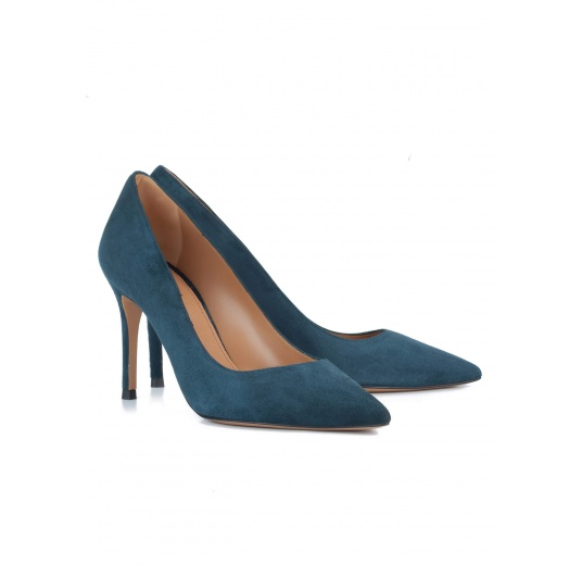 Petrol blue suede pointy toe pumps Pura L�pez