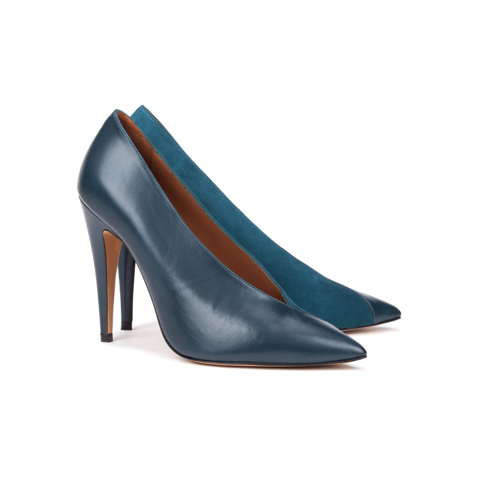 Petrol blue V-cut high heel pumps - online shoe store Pura Lopez