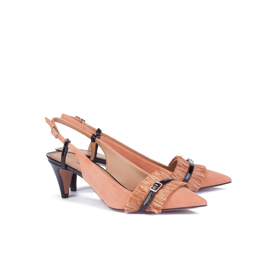 Two-tone fringed slingback pumps - online shoe store Pura Lopez