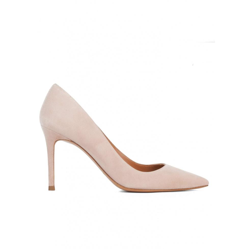 Nude suede heeled pumps