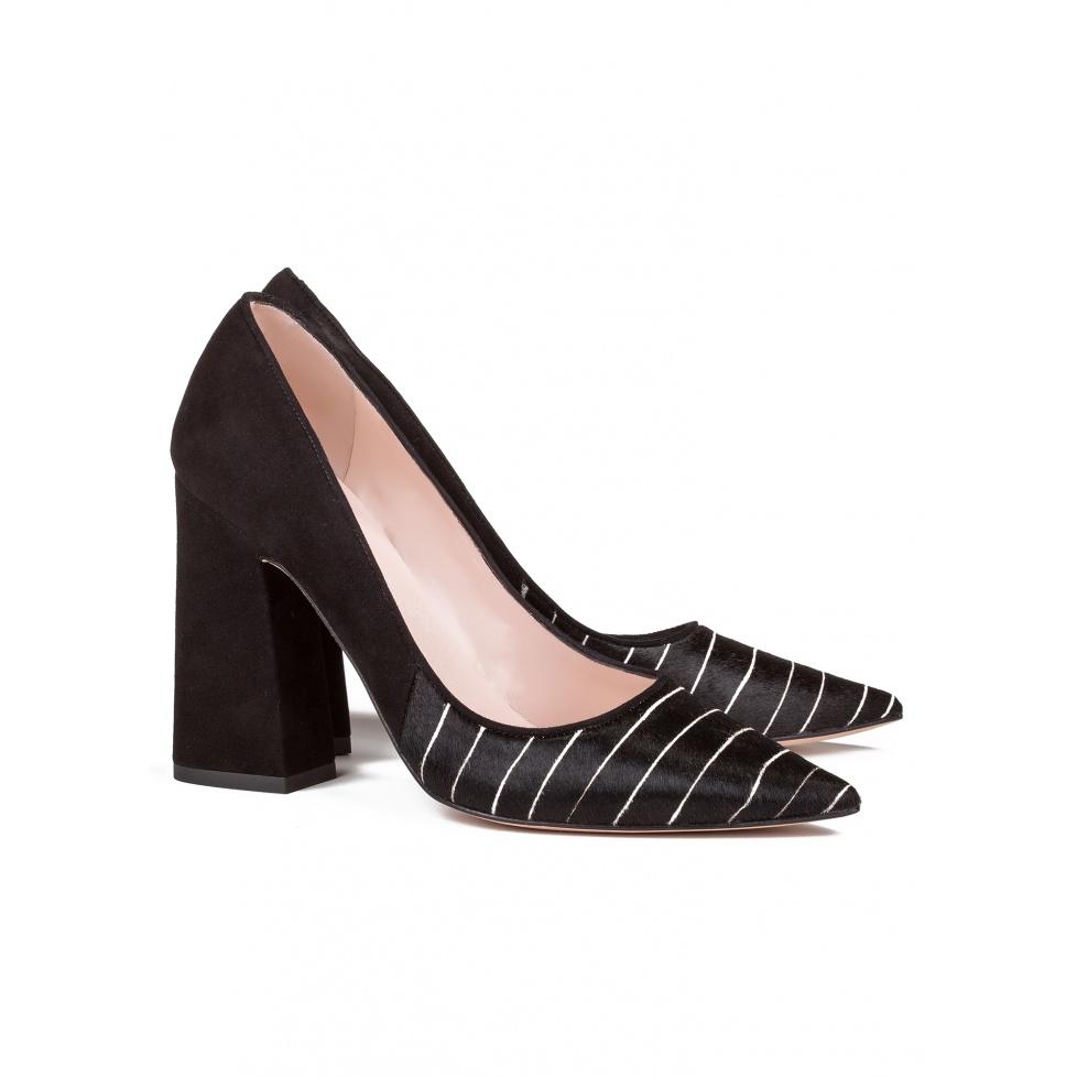 High block heel pumps in pinstripe - online shoe store Pura Lopez