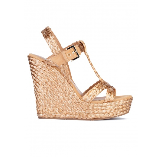 Wedge sandals in golden raffia Pura L�pez