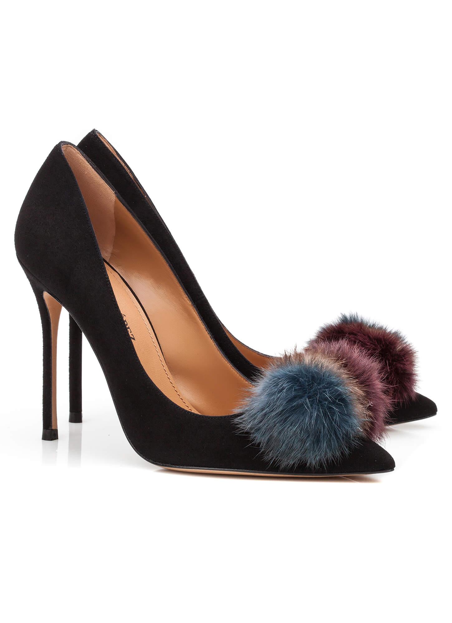 c4b8336bb Pompom-embellished high heel pumps in black suede Black pompom-embellished  heeled pump - online shoe store Pura Lopez ...