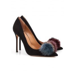 Pompom-embellished high heel pumps in black suede Pura López