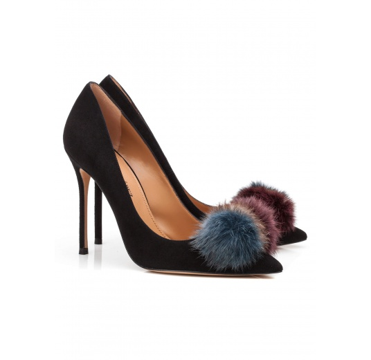Pompom-embellished high heel pumps in black suede Pura L�pez