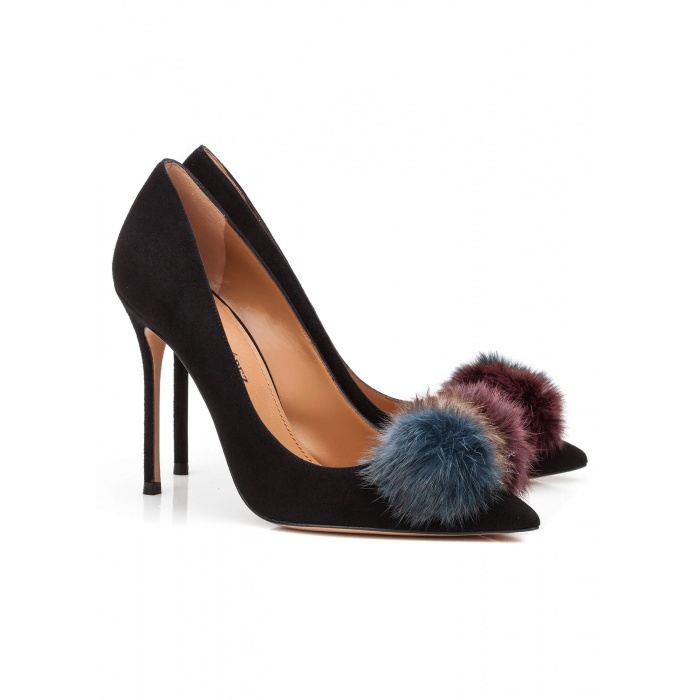 Black pompom-embellished heeled pump - online shoe store Pura Lopez