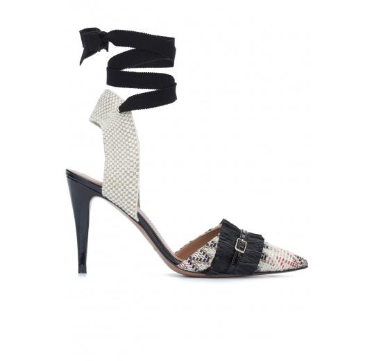 Zapatos atados de punta fina en tejido estampado Pura L�pez