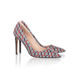 High heel pumps in printed fabric Pura López