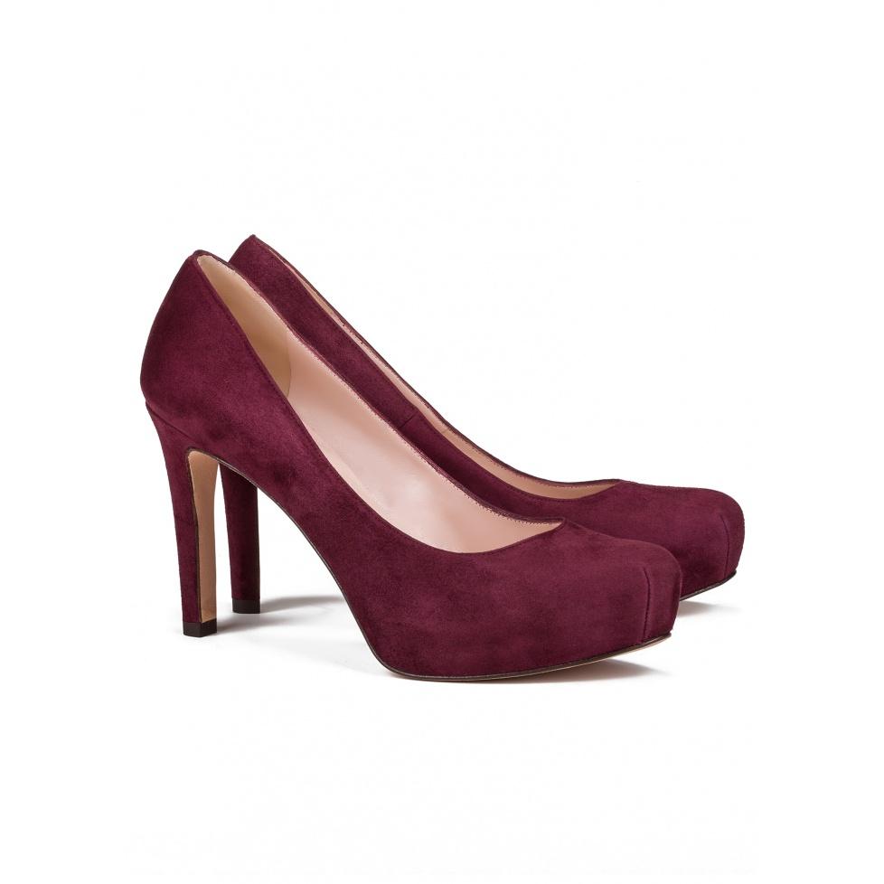Mid heel pumps in burgundy suede - online shoe store Pura Lopez
