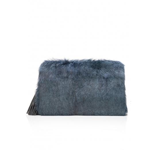 Teal blue hair clutch Pura L�pez