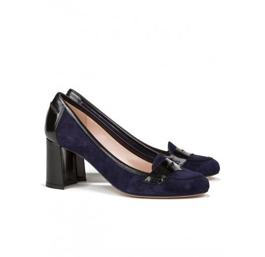 Mid heel shoes in navy blue suede Pura L�pez