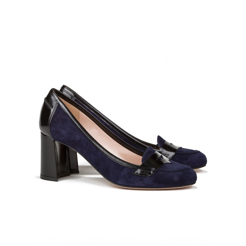 Mid heel shoes in navy blue suede - online shoe store Pura Lopez
