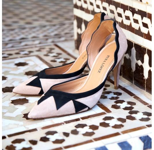 Zapatos de salón destalonados bicolor Pura L�pez