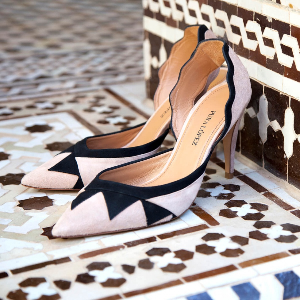 Two-tone heeled pumps - online shoe store Pura Lopez