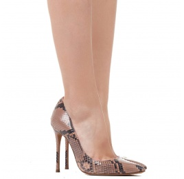 High heel pumps in nude python leather Pura López