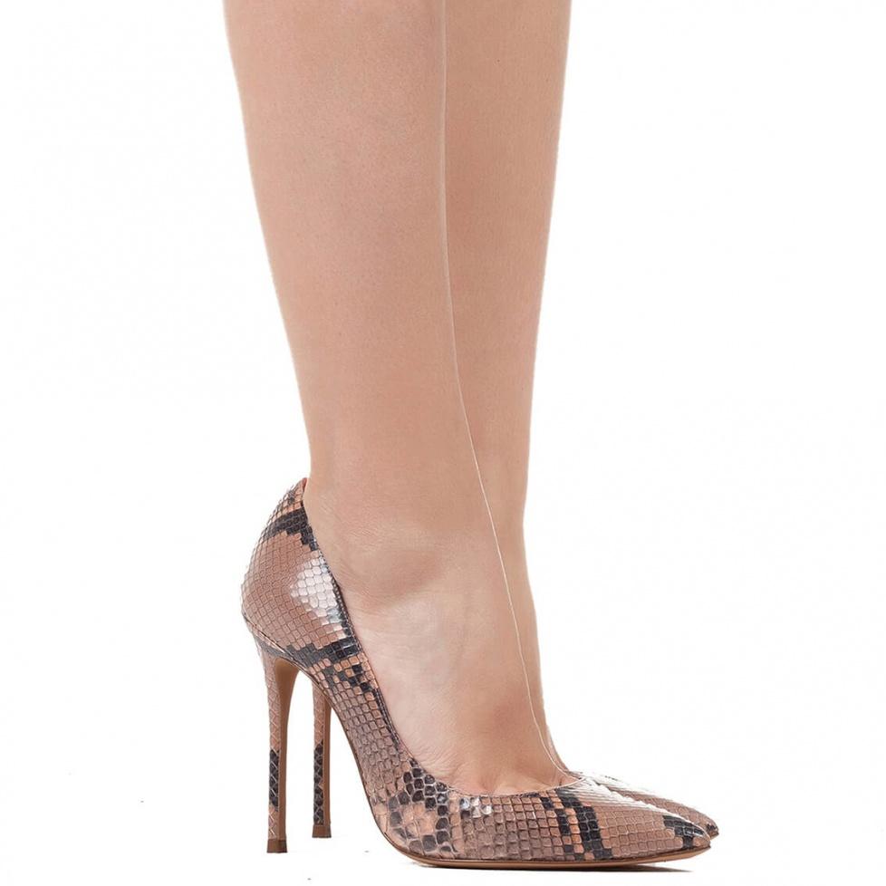 Heeled python pumps - online shoe store Pura Lopez