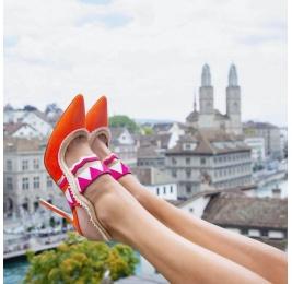 Orange suede heeled slingback pumps Pura López