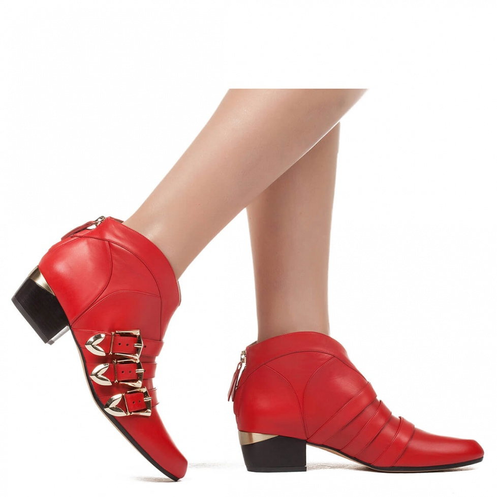 Mid heel ankle boot in red leather - online shoe store Pura Lopez