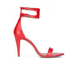 Ankle strap high heel sandals in red leather Pura López