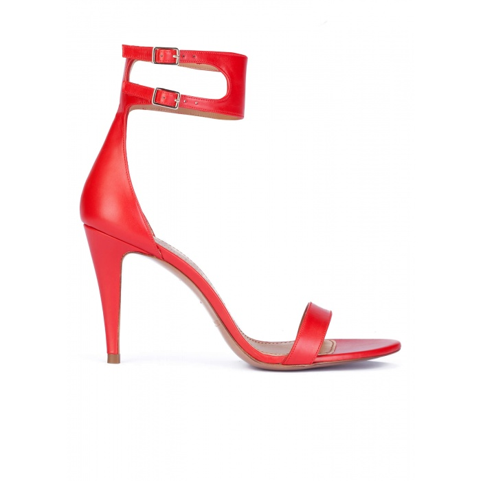 Ankle strap high heel sandals in red leather