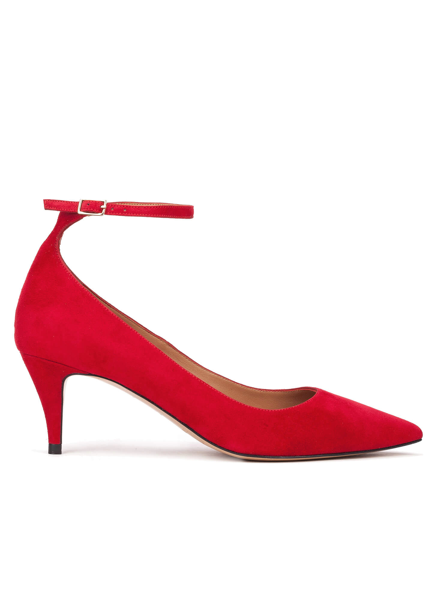 fc49554a8e7f ... online shoe store Pura Lopez. Linda Pura López. Ankle strap mid heel  shoes in red suede ...
