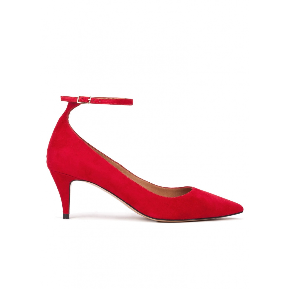Ankle strap mid heel shoes in red suede