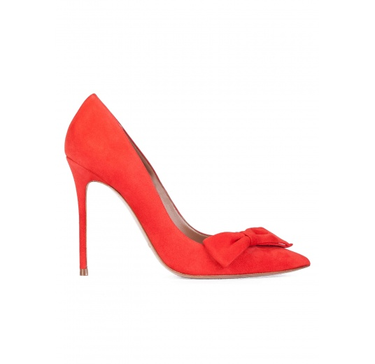 Bow detailed high heel pumps in red suede Pura L�pez