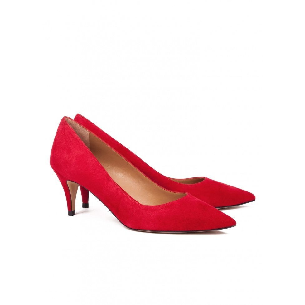 Zapatos de salón en ante rojo - tienda de zapatos Pura López