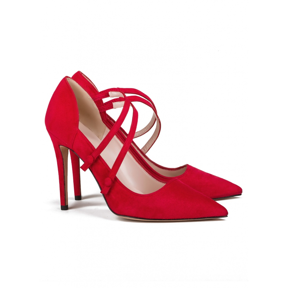 High heel shoes in red suede - online shoe store Pura Lopez