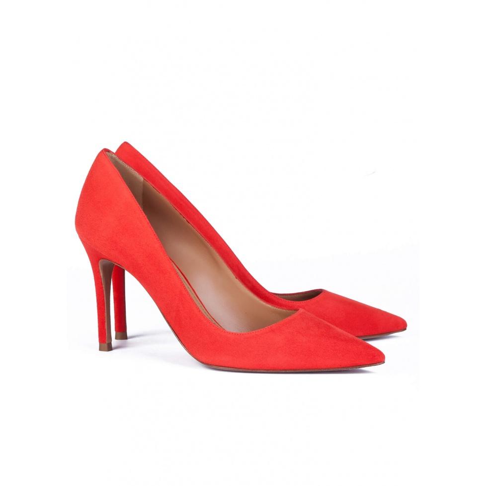 Zapatos rojos de salón en ante - tienda de zapatos Pura López