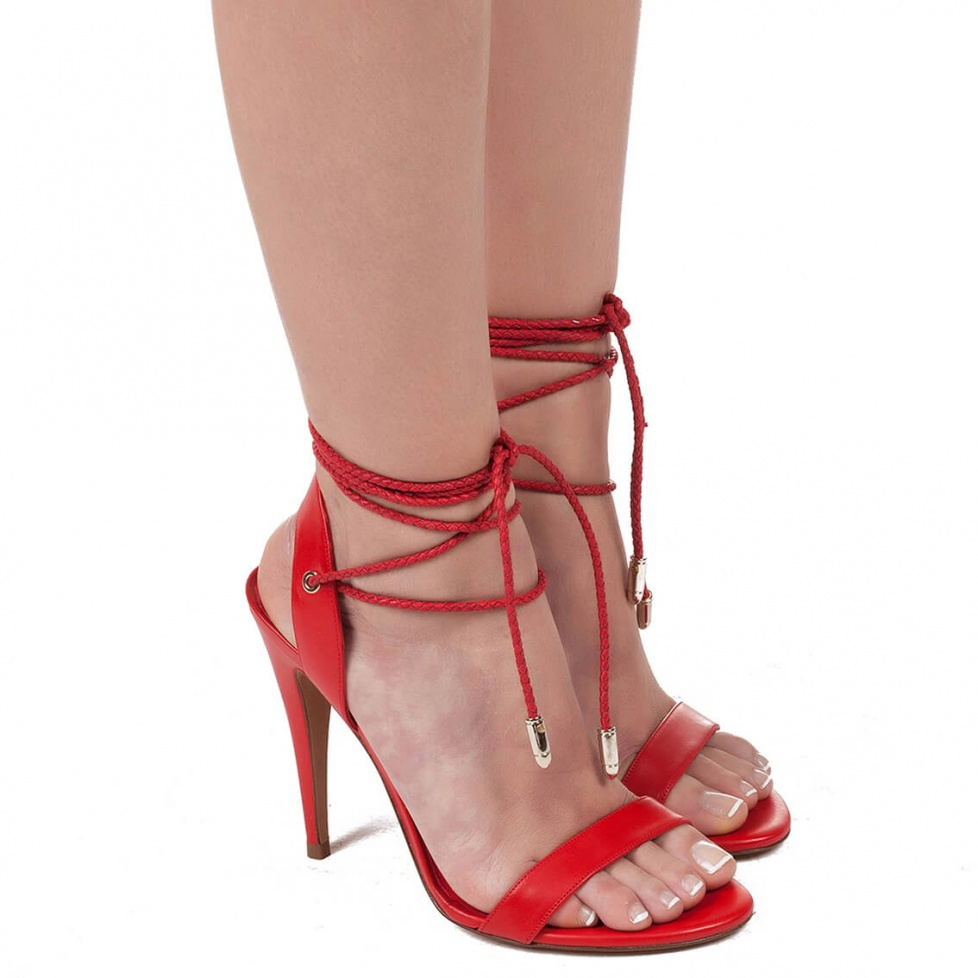 High heel sandals in red leather - online shoe store Pura Lopez