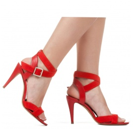 Strappy high heel sandals in red suede Pura López
