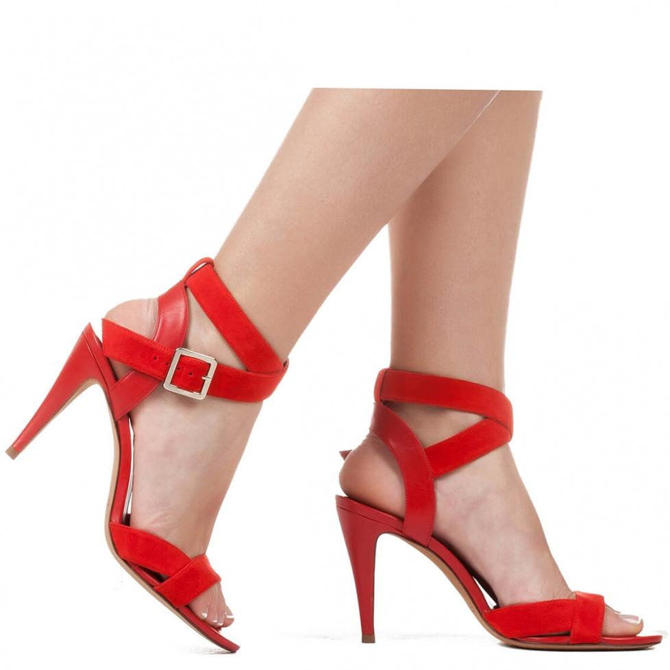 Red suede high heel sandals - online shoe store Pura Lopez