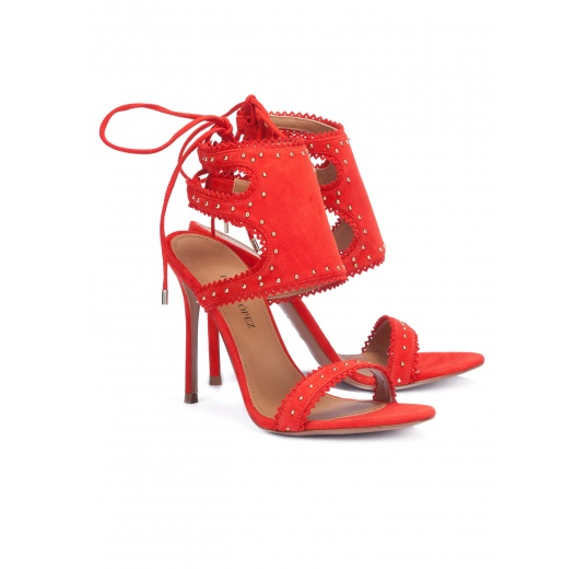 Red lace-up high heel sandals Pura L�pez