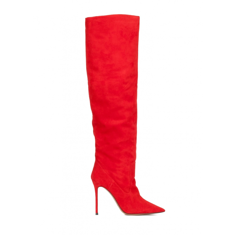 High heel point-toe boots in red suede