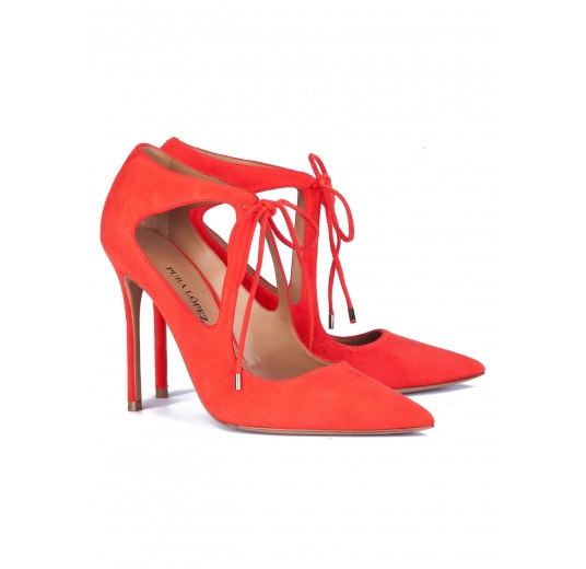Cutout shoes in red suede with front ties Pura L�pez