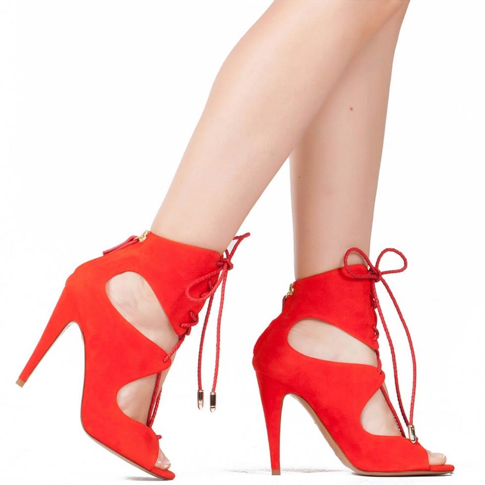 Sandalia de tacón alto en ante rojo - tienda de zapatos Pura López