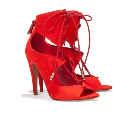 Lace-up high heel sandals in red suede Pura López