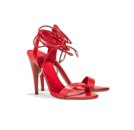 Lace-up high heel sandals in red leather Pura López