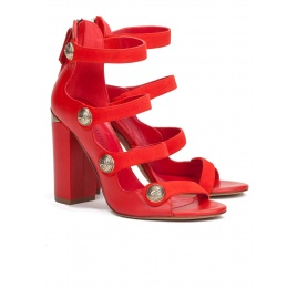 High block heel sandals in red leather with metallic buttons Pura López